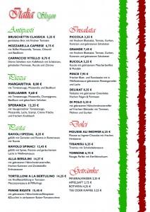 italienische Speisekarten Vorlage