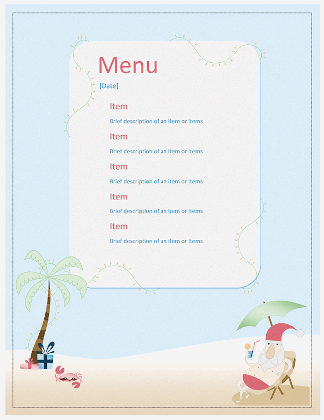 Beach-Party-Menu-Vorlage
