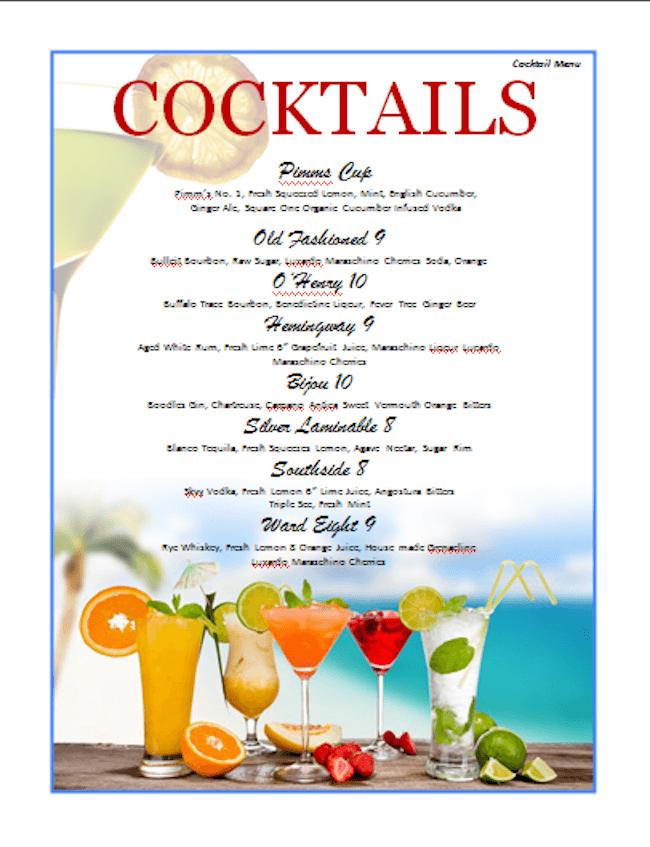 Vorlage bunte Cocktailkarte