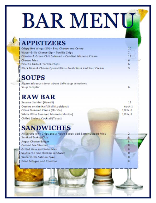 Cocktailkarte für eine Bar