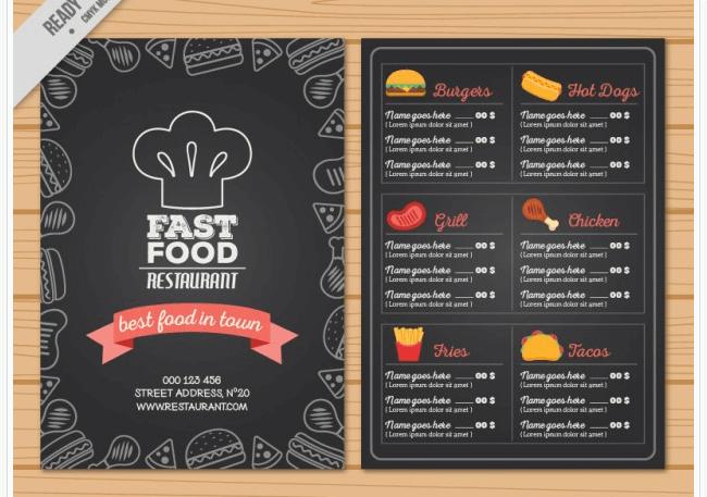Handgezeichnete Speisekarten Vorlage mit Tafeloptik