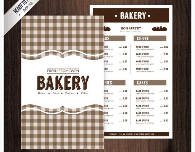 Klassische Speisekarte Vorlage Bäckerei