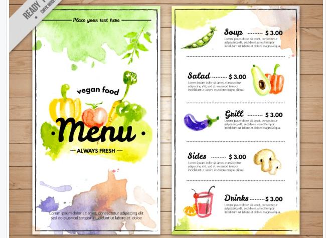 Kunstvolle Speisekarte Vegetarisches Restaurant