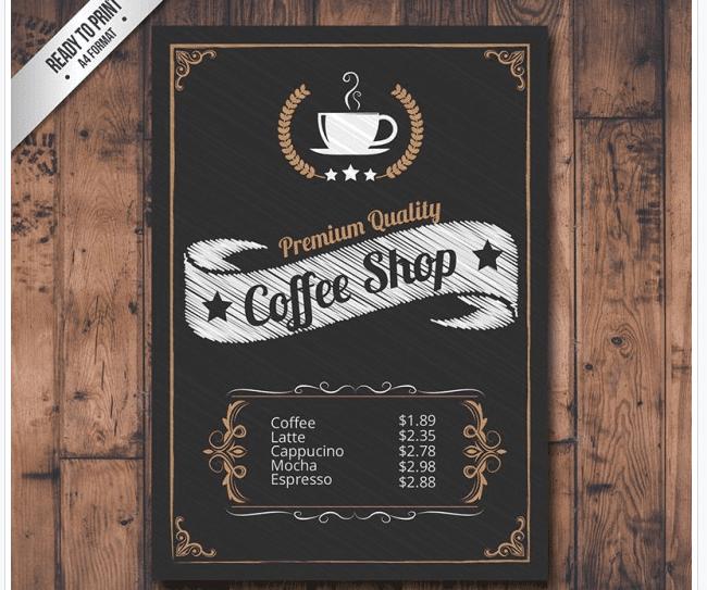 Mustermenü für ein Cafe