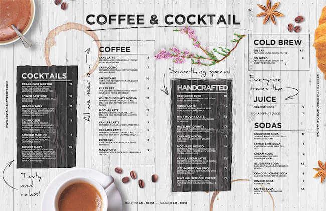 Professionelle Speise- & Getränkekarte Café