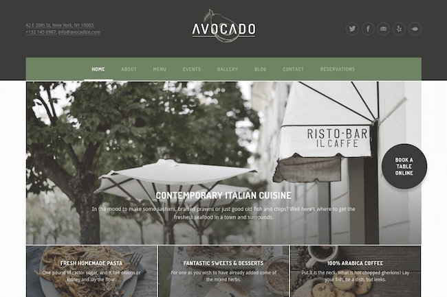 Restaurant WordPress Theme Avocado
