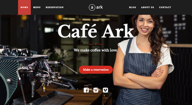 Restaurant WordPress Theme the ark