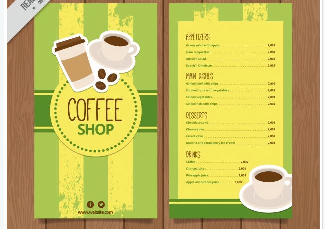 Retro Speisekarten Vorlage Café