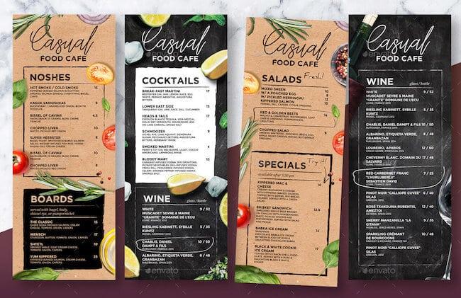 Speise- & Getränkekarte für Restaurants oder Cafés