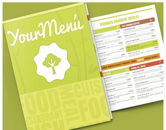 Speisekarte Vorlage vegetarisches Restaurant
