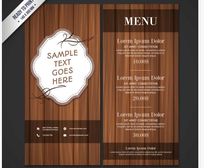 Speisekarte im Holzdesign