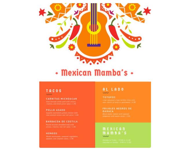 Speisekarte mexikanisches Restaurant