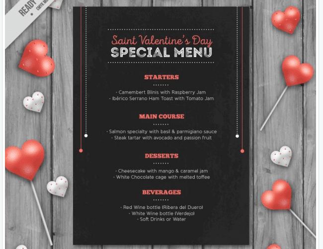 Speisekarte zum Valentinstag
