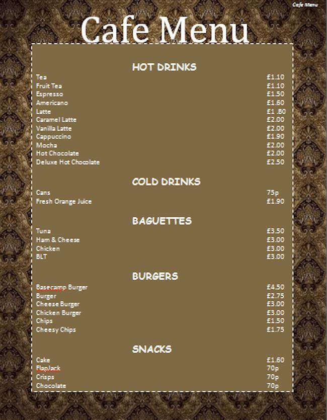 Speisekarten Vorlage Cafe