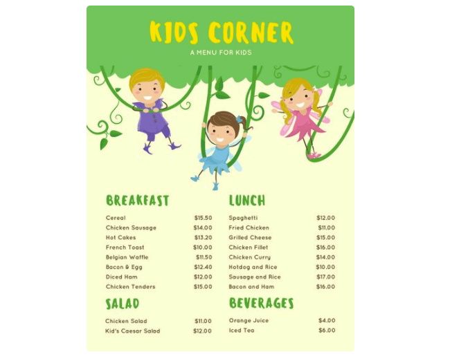 Speisekarten Vorlage Kinder