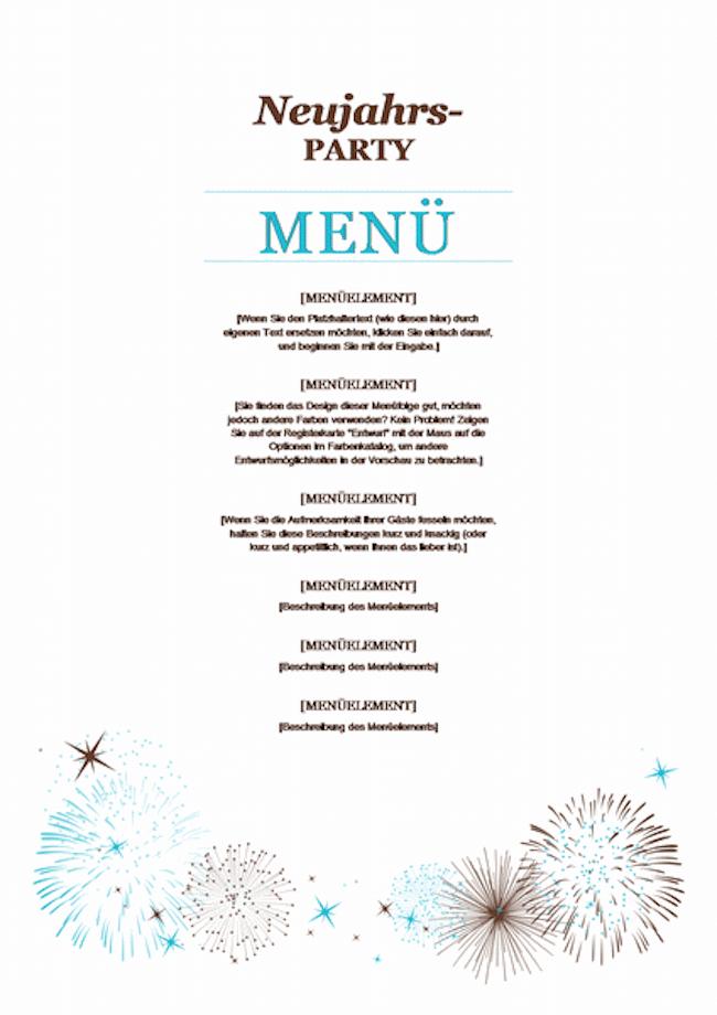 Speisekarten Vorlage Neujahr