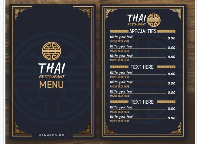 Speisekarten Vorlage für thailändisches Restaurant
