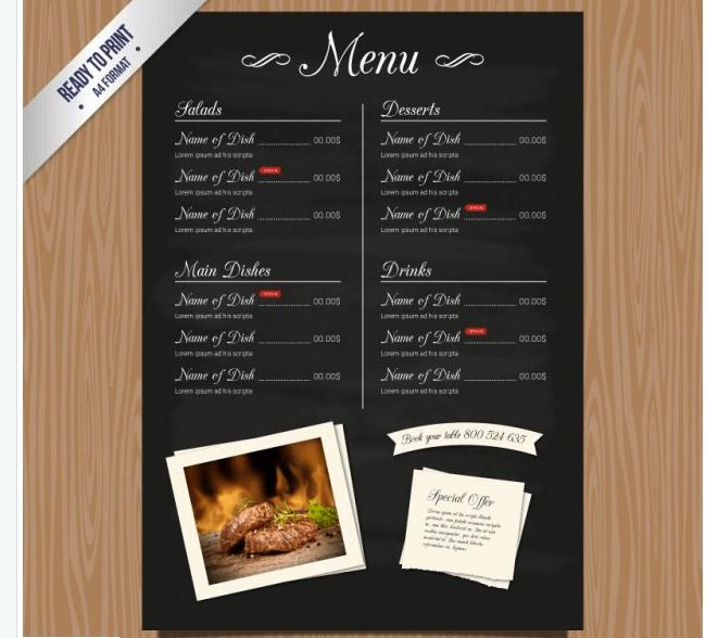 Speisekarten Vorlage mit Bildern