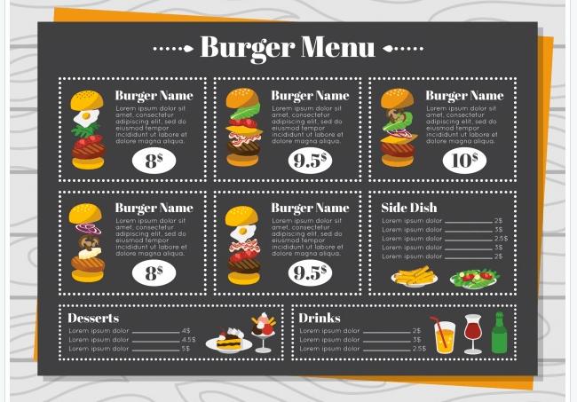 Speisekartenvorlage Burger Menue