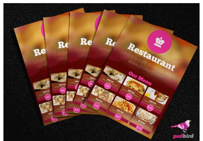 Vorlage Restaurant Menükarte und Speisekarte