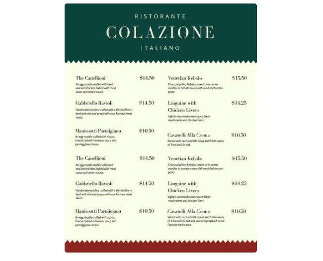 Vorlage Speisekarte italienisches Restaurant