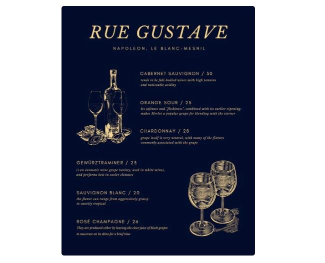 Vorlage für eine Weinkarte