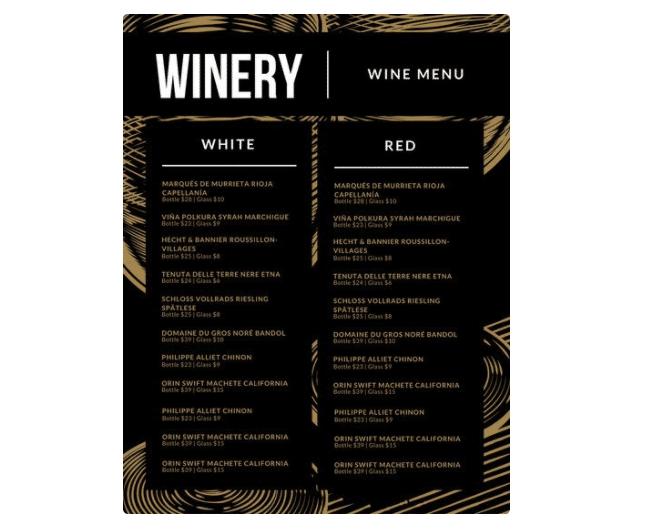 Weinkarte als Vorlage
