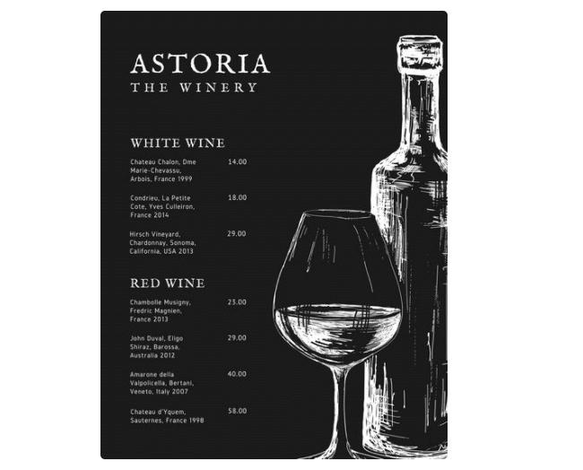 Weinkarte zum online bearbeiten