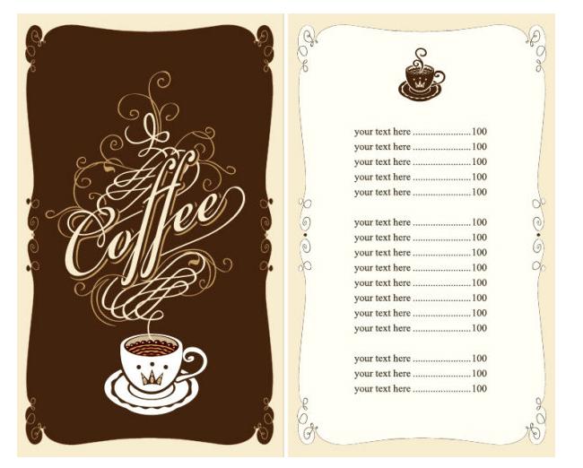 speisekarte vorlage cafe